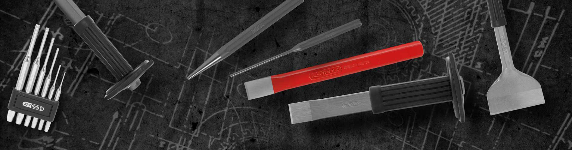 156.0241 8-kant KS TOOLS Flachmeißel mit Handschutzgriff 20mm