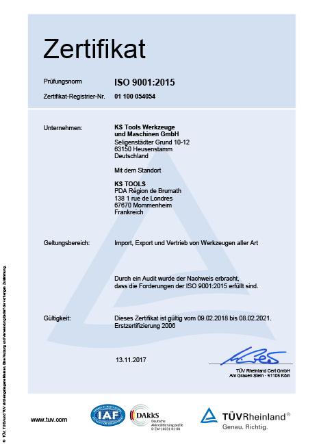 Zertifikate | Unternehmen | KS Tools Werkzeuge - Maschinen GmbH