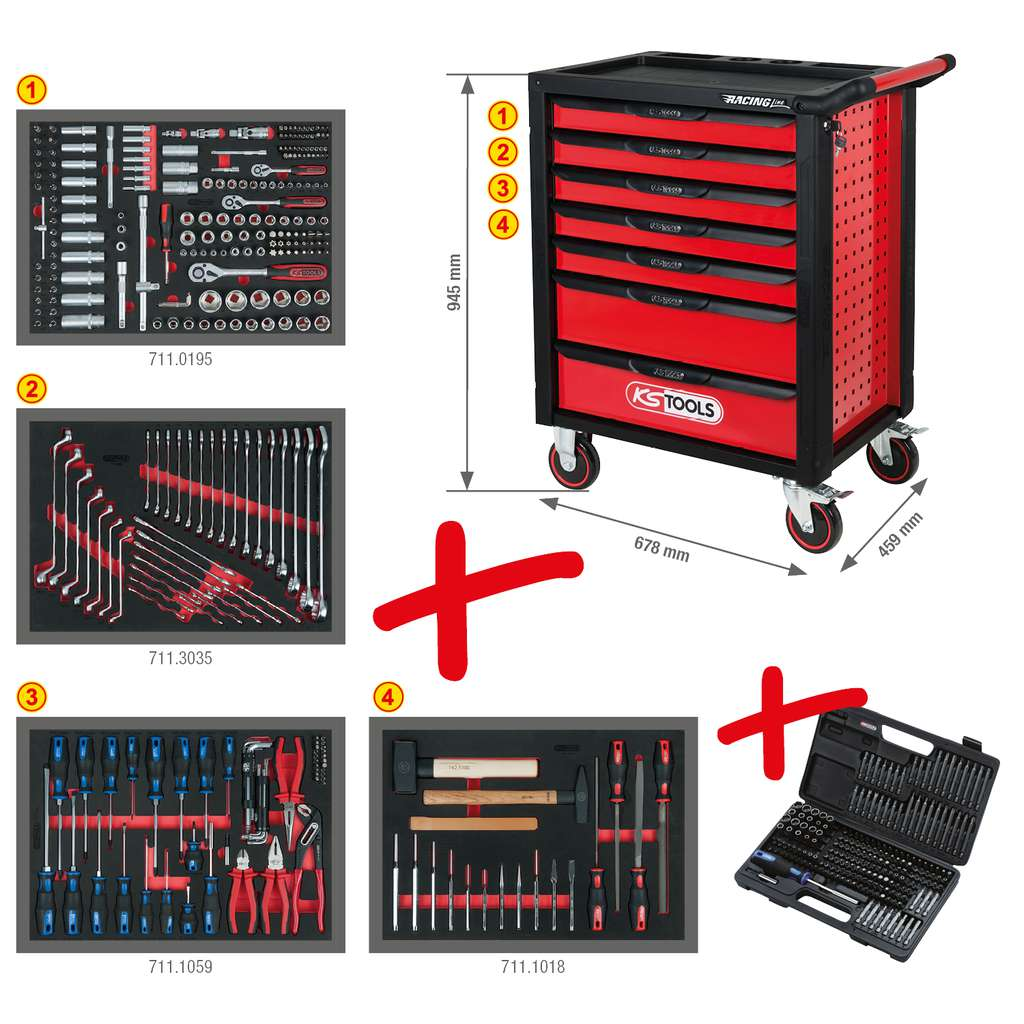 KS Tools 826.0007 RACINGline SCHWARZ//ROT Werkstattwagen mit 7 Schubladen