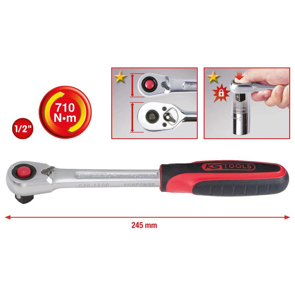 KS Tools 920.1290  1//2 SlimPOWER Reversible ratchet 72 teeth