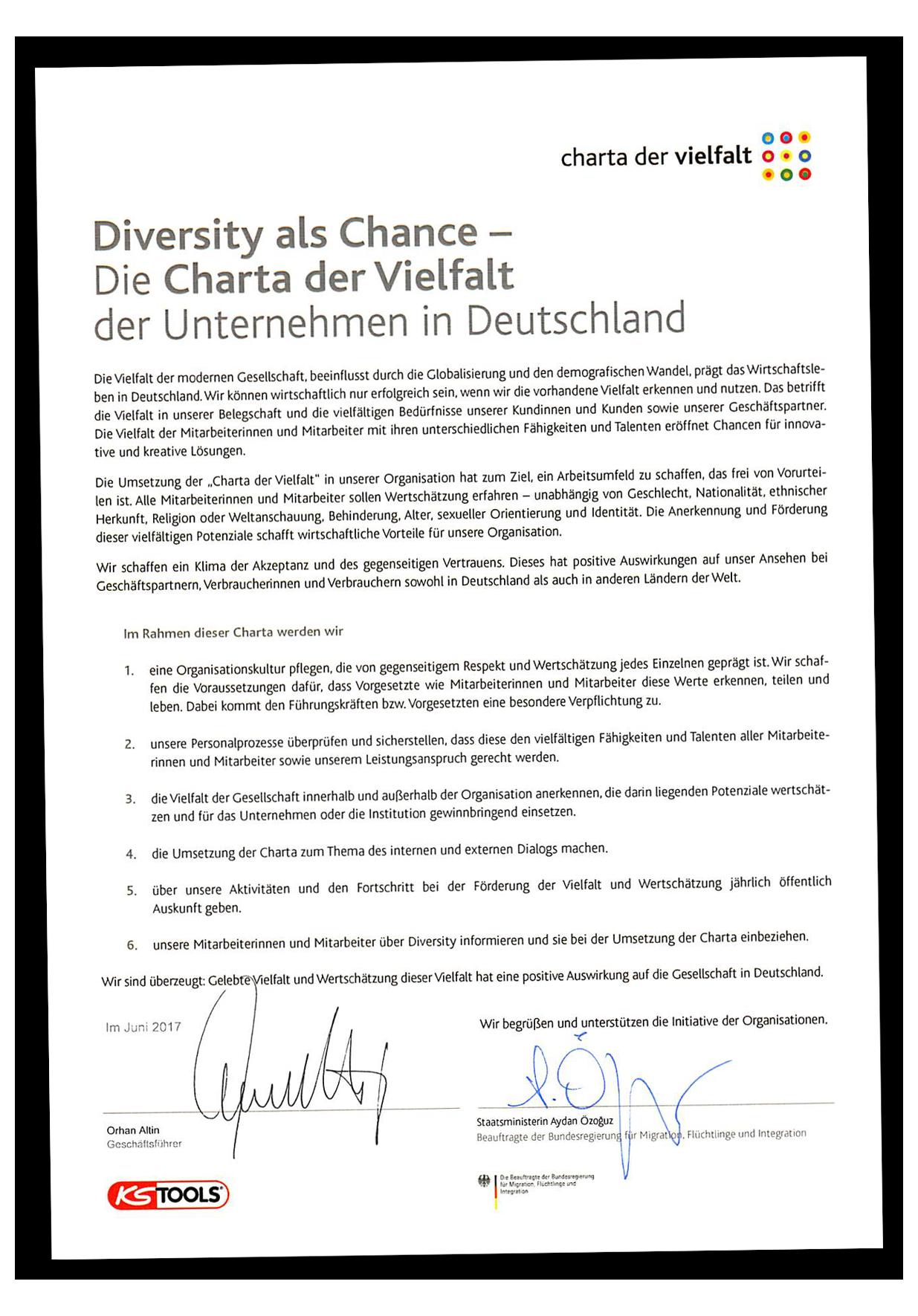 Besondere Len the diversity charter ks tools werkzeuge maschinen